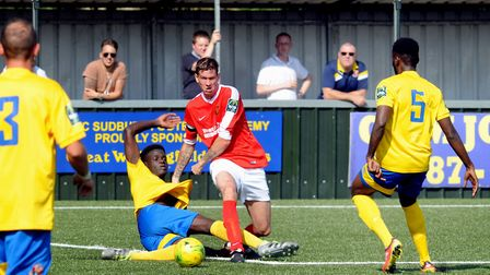 Luke Butcher was on target for Mildenhall in their thrilling home defeat against Heybridge Swifts.