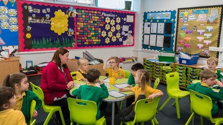 Pupils from Trinity Primary School working on the Stowmarket Remembers project Picture: MUSEUM OF EA