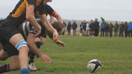 A chase for the ball as Southwold play Romford & Gidea Park. Picture: LINDA CAYLEY