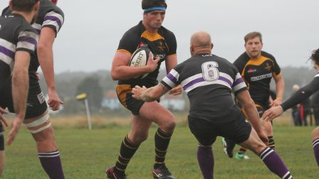 Jonny Walker on the carry for Southwold. Picture: LINDA CAYLEY