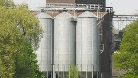 Muntons silos are not thought to be affected by the fire at the grain intake facility. Picture: CONT