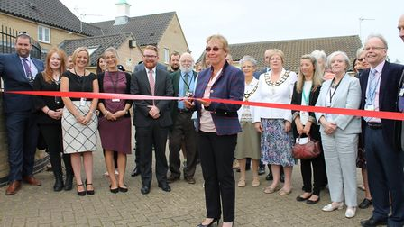 Councillor Jil Wilshaw at the official opening ceremony of The Foyer in Stowmarket, funded by the bu