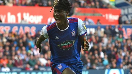 Trevoh Chalobah celebrates his winner at Swansea City. Photo: Pagepix