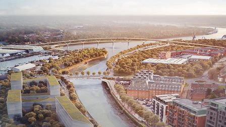 Overall look of the bridges for the Upper Orwell Crossings from Foster + Partners. Picture: FOSTER+P