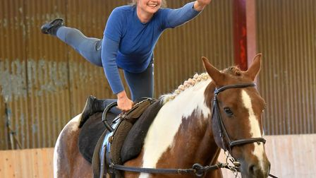 Amanda Melton demonstrates equine vaulting with her horse, Billy. Picture: Nick Butcher