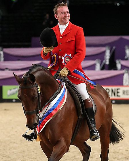 Oliver Hood and Gateshead won the Racehorse to Riding Horse title at the Horse of the Year Show. P