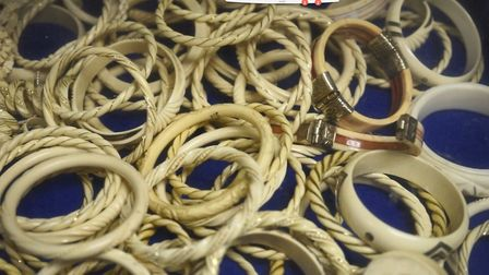 Seized ivory bracelets at the Border Force's facility at Heathrow Airport Pic: Border Force/Foreig