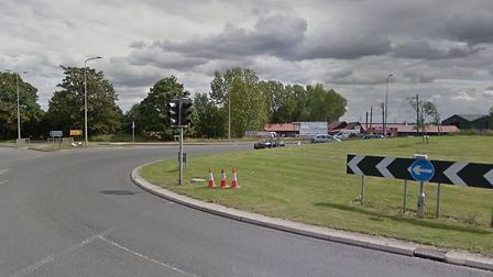 The accident is said to be partially blocking the roundabout near the Main Road junction Picture: GO