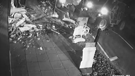 CCTV of the JCB smashing into the shop front Picture: ESSEX POLICE