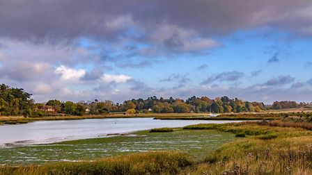 The beautiful Autumn colours of the trees and the banks of the river Deben estuary Picture: PAUL TEM