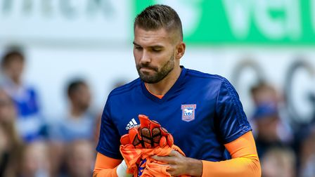 Bartosz Bialkowski was left on the Ipswich Town bench for the game with Norwich. Picture: STEVE W