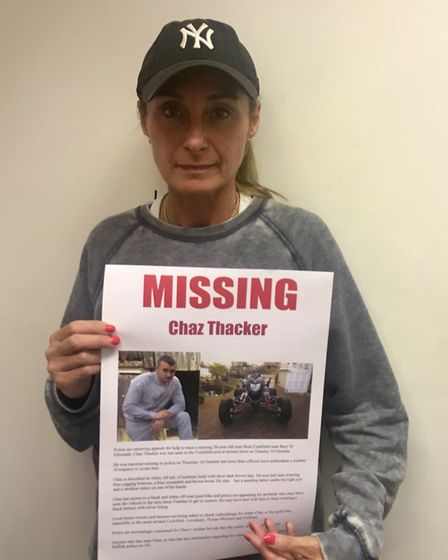 Mum Marie Thacker, who is launching a search party for missing son Chas Picture: MICHAEL STEWARD