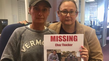 Mrs Thacker and her sister Tara Farrant with the missing poster Picture: MICHAEL STEWARD