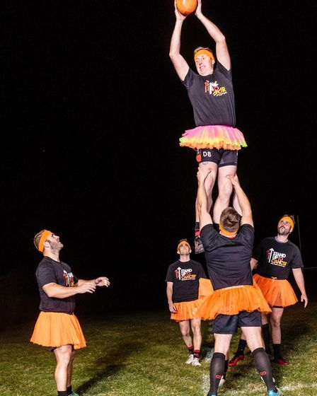 The tutus are orange, the colour of the Stand Up to Cancer initiative Picture: MARK HEWLETT PHOTOGRA