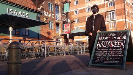 The Plague Doctor at Isaacs on the Quay, where scary Isaacs Plague is a weekend attraction - and rai