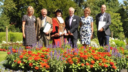 Judges from Britain in Bloom visted the Abbey Gardens in Bury St Edmunds over the summer. Left to ri