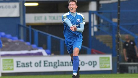 Christy Finch celebrates after scoring for Leiston taking them to 2-0 in the first half. Picture: S