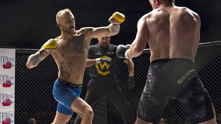 James Farn looks to unlock Matt Rodgers' defences in a fantastic fight at Cage Warriors Academy Sout