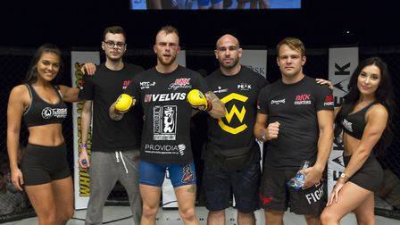 James Farn with his BKK Fighters team after his fight-of-the-night showing at Cage Warriors Academy