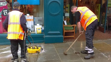 Workers cleaning the streets of Colchester Picture: COLCHESTER BOROUGH COUNCIL