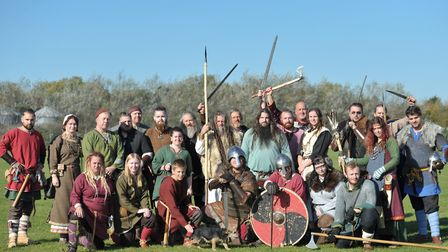 The Wuffa re-enactment group prepare for battle Picture: SARAH LUCY BROWN