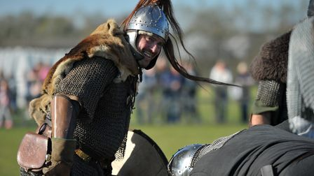 Bloodthirsty warriors gathered for brutal battle re-enactments Picture: SARAH LUCY BROWN