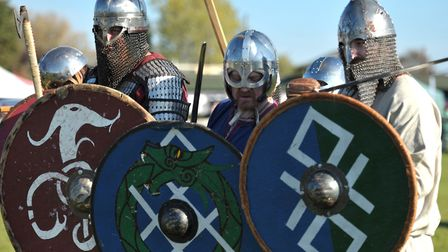 Standing shoulder to shoulder in the shield were the re-enactment groups Wuffa, Ormsguard, Herigeas