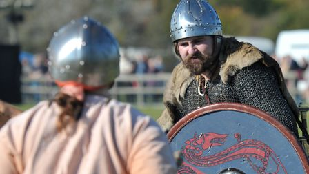 Bloodthirsty warriors battled it out at the festival Picture: SARAH LUCY BROWN