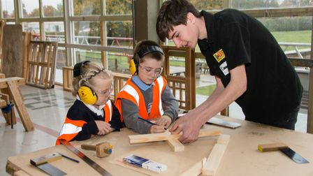 Pupils from Bosmere Primary School in Needham Market teamed with carpentry and joinery students at W