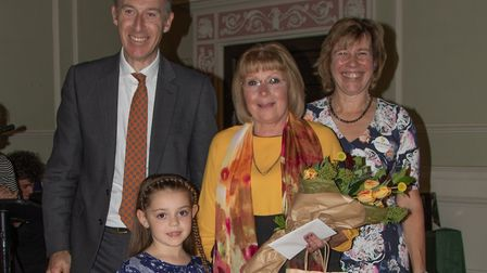 Poppy Ann and Sue Shard, who won the Bury in Bloom Award, with Melanie Lesser and Max Weatherby Pict