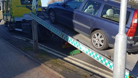 The Volvo estate car was seized in Newmarket, Picture: NORFOLK AND SUFFOLK ROADS AND ARMED POLICING