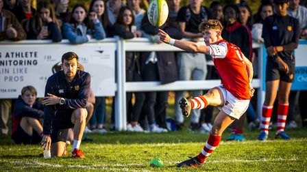 A player slots home a kick during the St Joseph's College 2018 rugby festival. Picture: MARK COVENTR