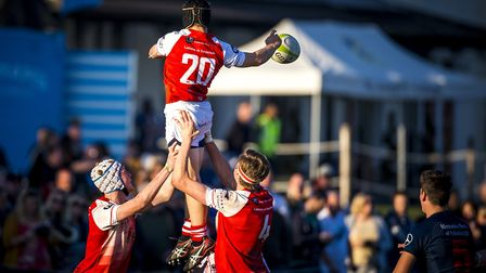 Leaping for a line-out at the St Joseph's Rugby Festival 2018. Picture: MARK COVENTRY