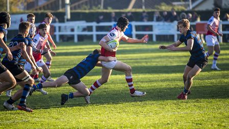 A St Jo's player on the charge during the 2018 rugby festival. Picture: MARK COVENTRY