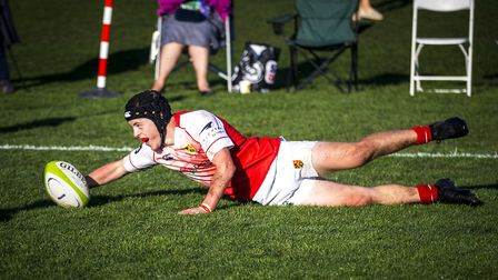A St Joseph's College player scores during the 2018 rugby festival. Picture: MARK COVENTRY