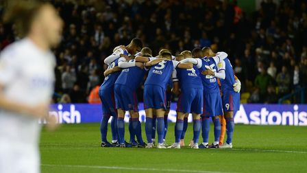 The Ipswich team huddle before kick-off at Elland Road Picture Pagepix