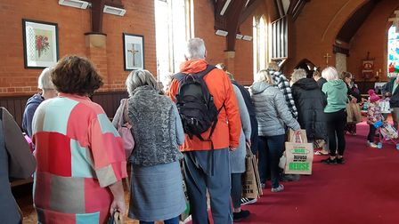 All the food and clothing on offer is laid out and users can fill a bag with items for just �1. Pict