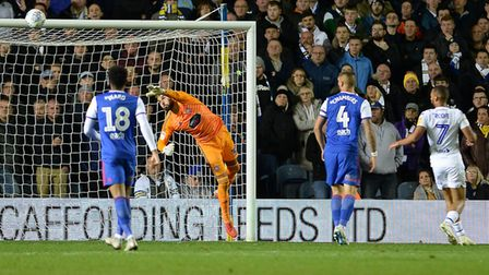 Bart Bialkowski back in goal at Leeds making a save during the second half Picture Pagepix