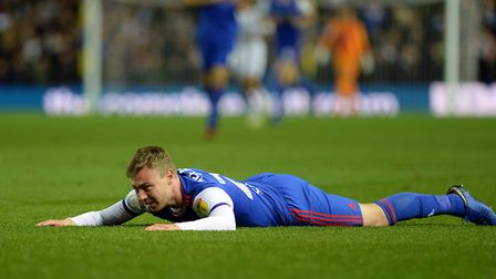 Freddie Sears is floored by a challenge at Leeds Picture Pagepix
