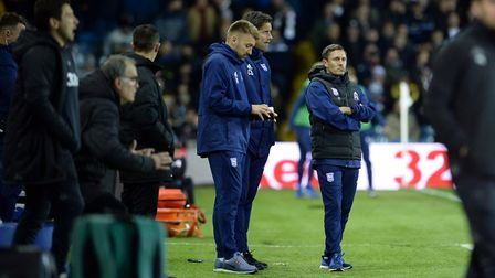Paul Hurst Chris Doig and Chris Hogg on the touchline during the second half at Leeds Picture Pagepi