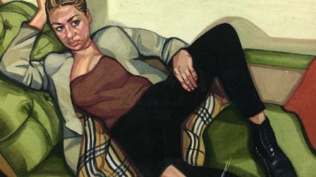 Ania Hobson portrait ' Girl in Ripped Jeans' part of a new exhibition at Asylum Studios on the forme