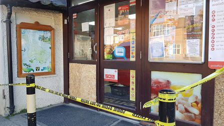 Photos from the crime scene in Grundisburgh, where burglars raided a convenience store Picture: RACH