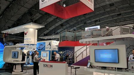 The Screen Systems stand at the IBC technical trade show in Amsterdam, where they showcased a new on