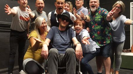 The cast of the Gallery Players production of Lucky Stiff, a rarely performed musical farce Photo: J