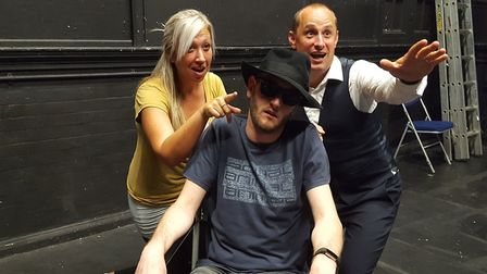 Zoe Jones as Annabel and Paul Stone as Harry with Darren Prentice as the Dead Body in the Gallery Pl
