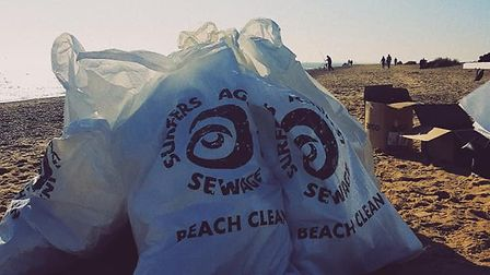 Litter collected on Felixstowe beach PICTURE: Melissa Masters