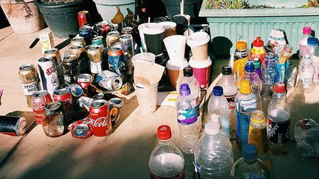 Various bottles and cans collected on Felixstowe beach PICTURE: Melissa Masters