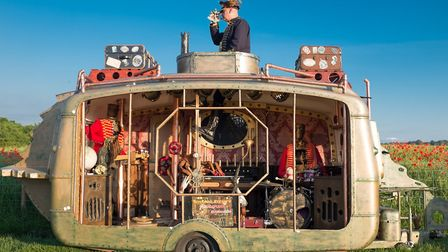 Ichabod Steam and his Animatronic Band with the submarine caravan Picture: DAVID SMITH