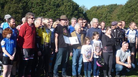 Neil Pears (brown jacket) with Eastern League friends at Mistley. Picture: FERGIS MUIR