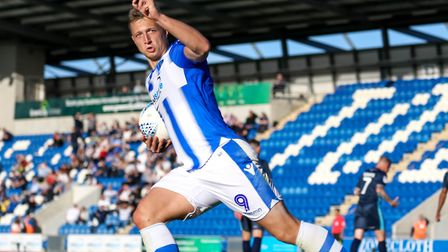 Luke Norris, celebrates one of his eight goals this season, this one against Bury. Picture: STEVE W